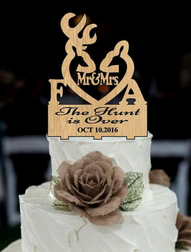 wedding photo - deer wedding cake topper, Country Cake Topper, the hunt is over, Rustic Wedding cake topper, shabby chic, redneck, cowboy, outdoor, western
