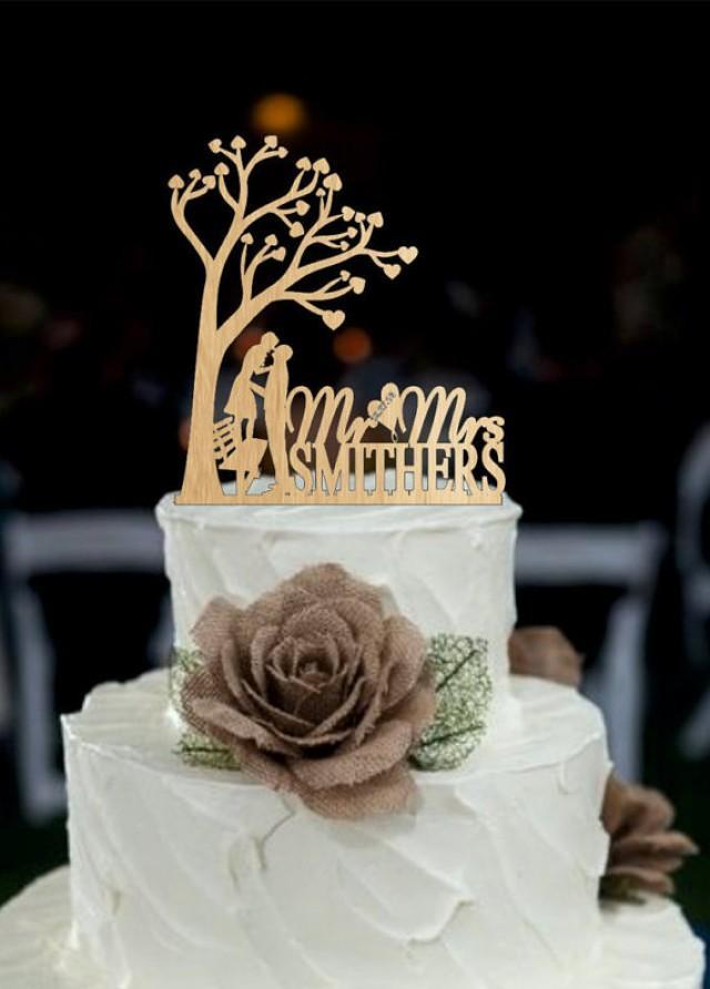 wedding photo - Custom Personalized Wedding Cake Topper, Silhouette wedding cake topper, Rustic Wedding Cake Topper, maonogram cake topper - cake decoration