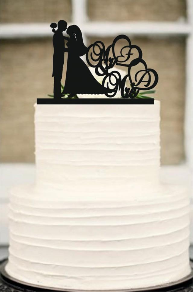 wedding photo - Wedding Cake Topper Silhouette Couple Mr and Mrs Personalized with The first letters of the name, Acrylic Cake Topper - Bride and Groom