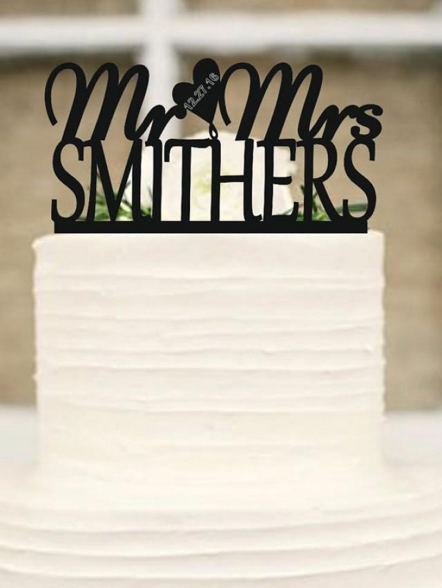 wedding photo - Personalized Mr and Mrs Custom Wedding Cake Topper with your lastname and event day,Monogram Wedding Cake Topper - Mr and Mrs Cake Topper
