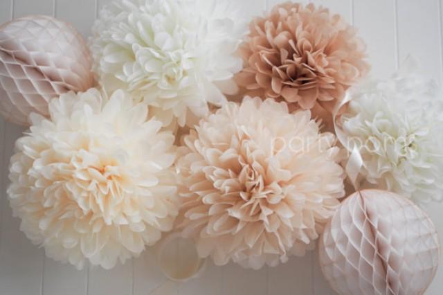 Neutrals 5 tissue paper pom poms wedding decoration for Pom pom room decor