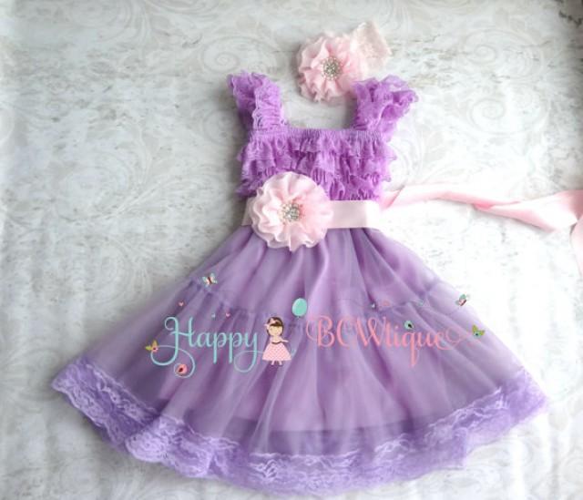 wedding photo - Baby Girls' dress, Lilac Pink Chiffon Lace Dress set, baby girls clothing,1st Birthday dress, Flowy dress,Flower girls dress,Princess Dress