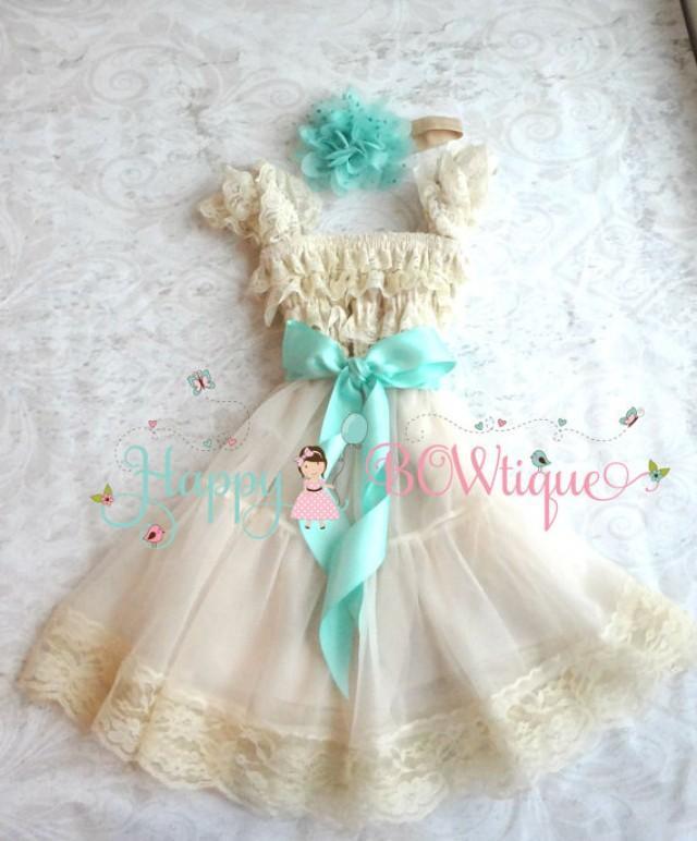 wedding photo - Flower girls dress, Champagne Mint dress set,Girls Lace Chiffon Dress set,Birthday,rustic dress,Flower girl lace dress, Baby Girls dress