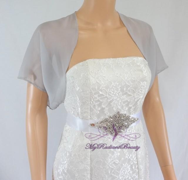grey chiffon jacket bridal bolero wedding bolero jacket. Black Bedroom Furniture Sets. Home Design Ideas