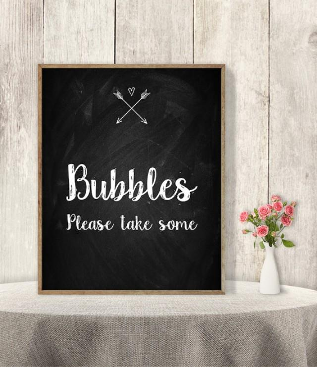 Bubbles Sign // Please Take One Sign // Rustic Wedding Sign DIY
