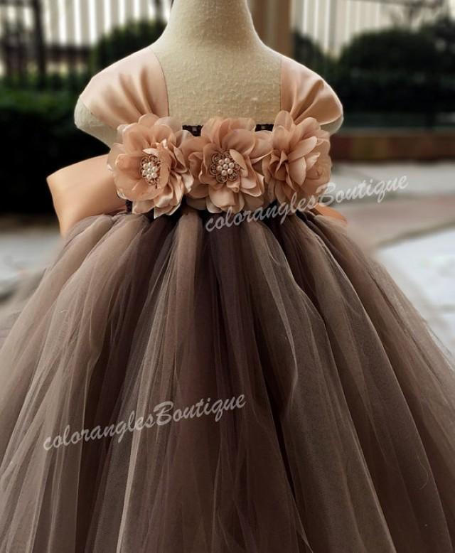 Flower girl dress chiffton flowers brown champagne tutu for Flowers for champagne wedding dress