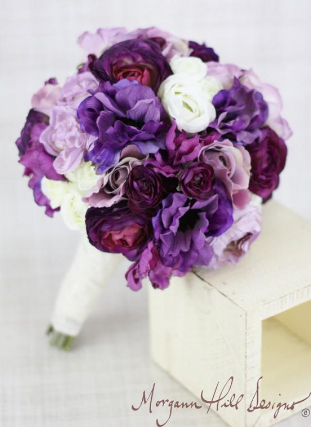 Silk bride bridesmaid bouquet roses ranunculus anemone