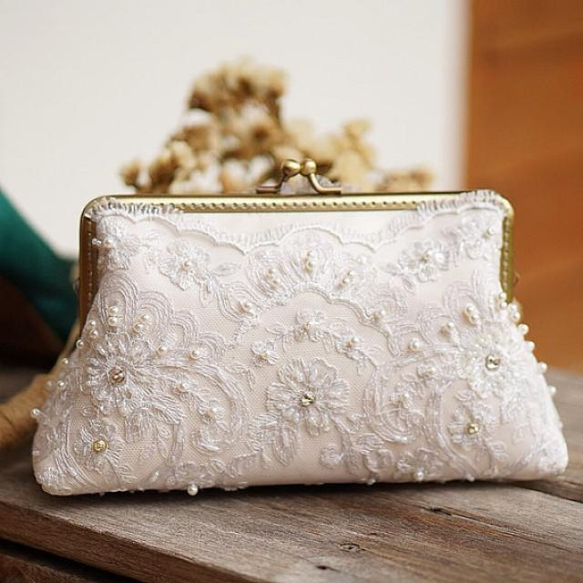Bridal Ivory Clutch Purse/ Vintage Inspired / Wedding Bag / Bridesmaid Clutch / Bridal Clutch ...