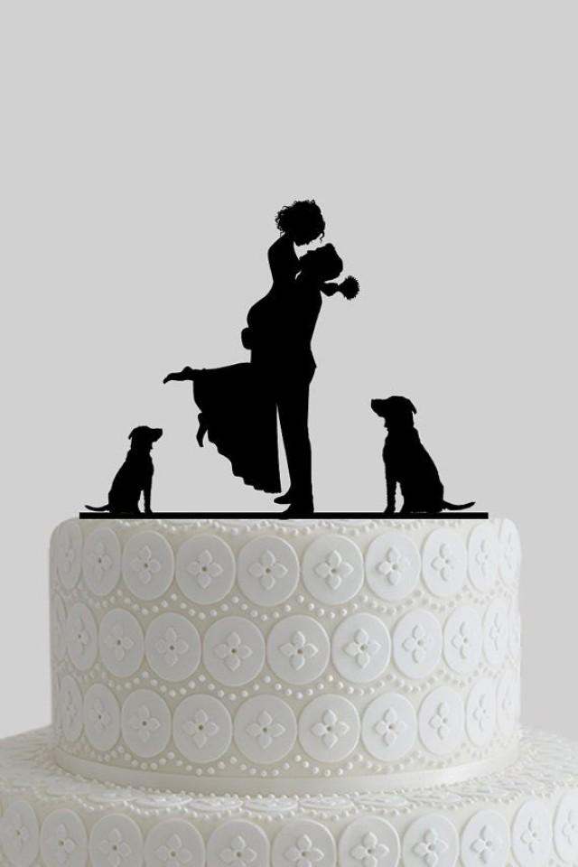 Custom Wedding Cake Toppers Mr And Mrs Cake Topper Bride And Groom Silhouette With Dogs