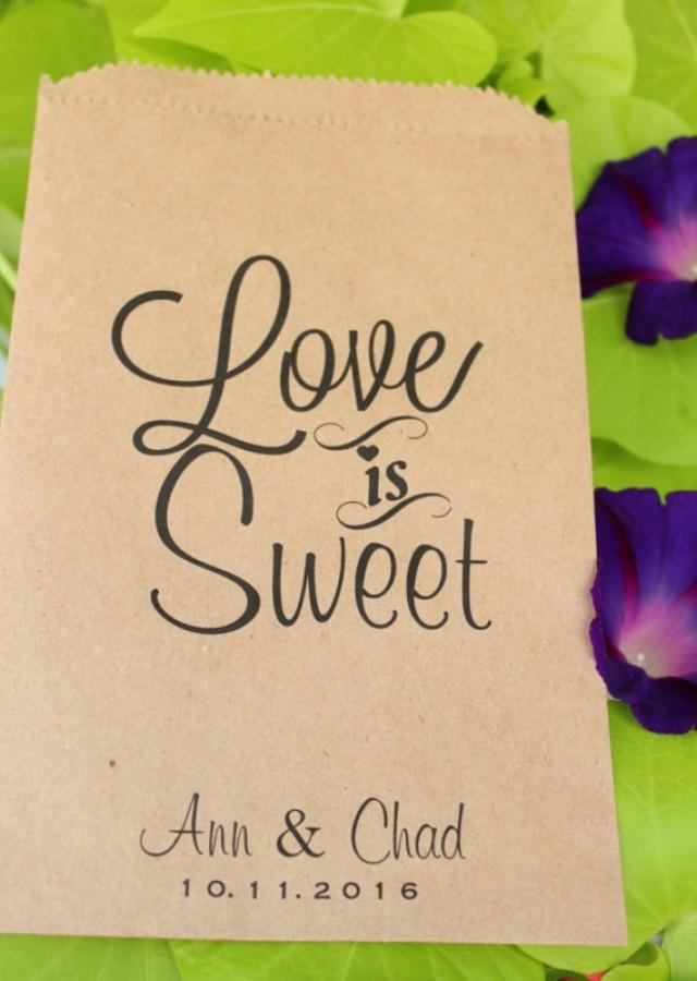 wedding photo - Wedding Favor Bags- Candy Buffet-Personalized Treat Bags-Sweet Table-Love Is Sweet