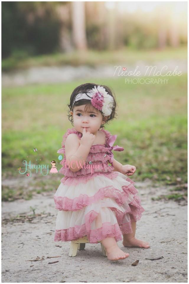 wedding photo - Girl's Champagne Rose Chiffon Lace Dress set,Flower Girl Flowy dress,Girls Dress,baby dress,1st Birthday outfit, Rustic Dress,Country dress
