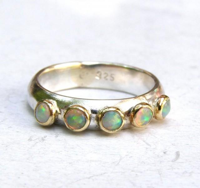 white opal ring jewelry stacking ring 14k