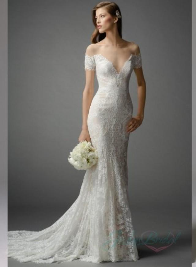 Sexy Sheer Top And Back Lace Mermaid Wedding Dress