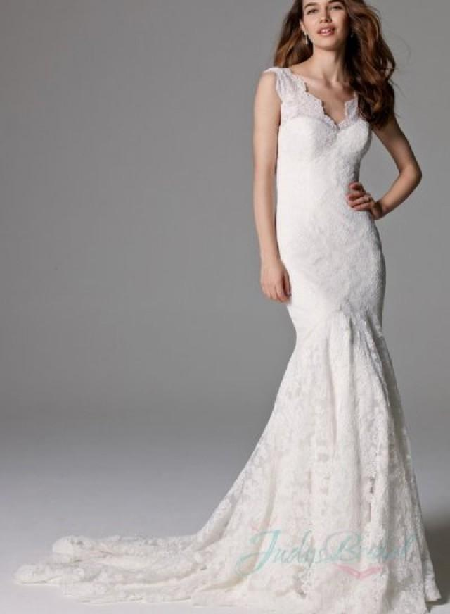 Mermaid Wedding Dress With Lace Straps : Stunning illusion lace straps backless mermaid