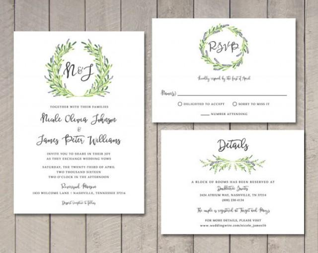 Laurel wedding invitation rsvp details card printable for Rsvp stand for on an invitation