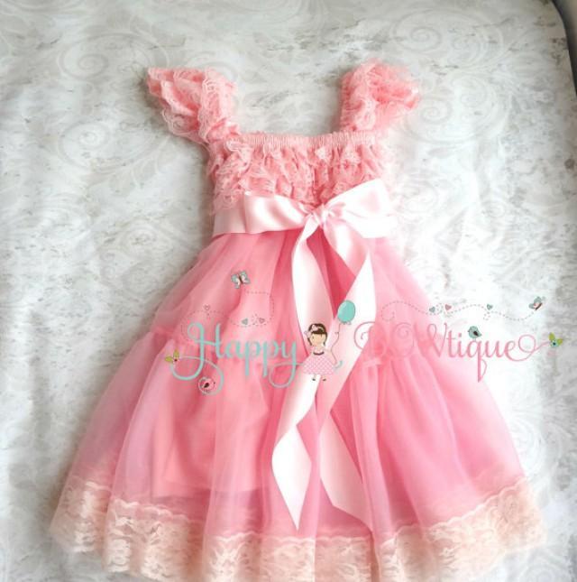 wedding photo - Flower girl dress, Bubblegum Pink Bow Chiffon Lace Dress,Girls dress,baby dress,1st Birthday dress,Pink Dress,Girls Princess dress,Baby Girl