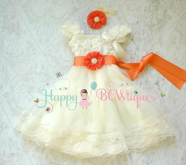 wedding photo - Flower girls dress-  Coral Ivory Chiffon Lace Dress set, Ivory lace Dress, baptism, rustic dress, Rustic flower girls lace dress,Girls Dress