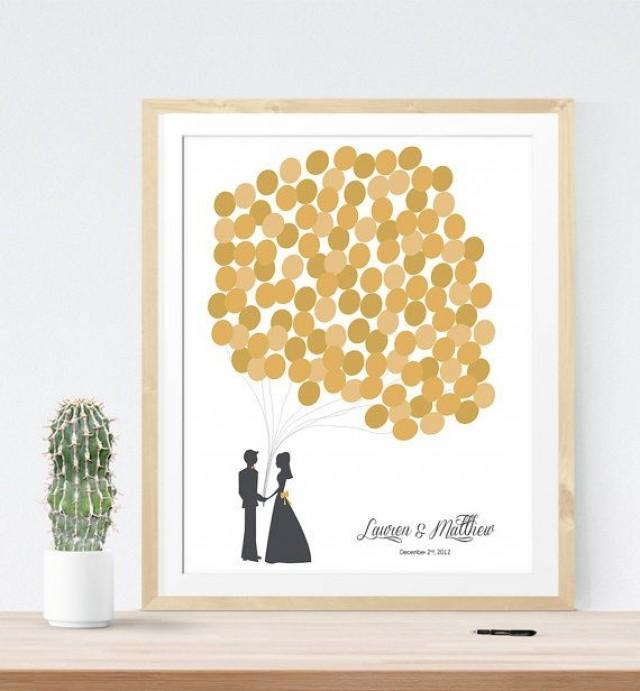 Original Wedding Guest Book Ideas: Gold Wedding Guest Book Alternative With Personalized