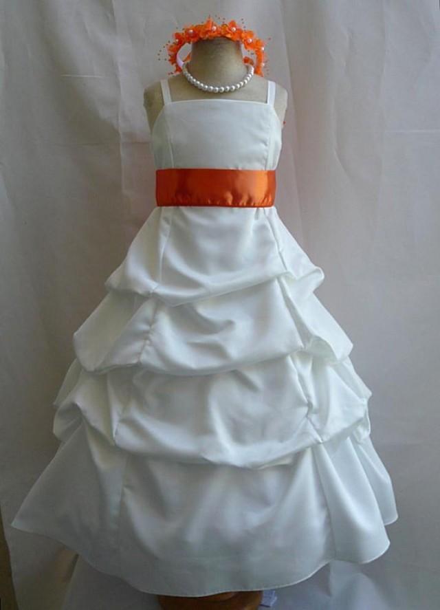 Flower girl dresses ivory with orange pick up dress for Wedding girl dress up