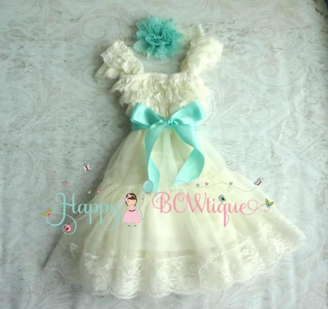 wedding photo - Flower girls dress, Ivory Aqua Mint Chiffon Lace Dress set,Baby Girls' Dress, Girls 1st Birthday dress,rustic dress, Ivory Dress,Baby Girls