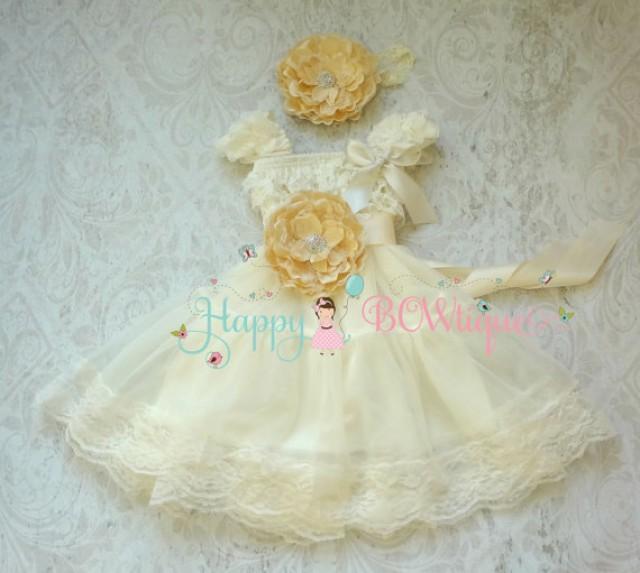 wedding photo - Flower girls dress, Ivory Champagne Chiffon Lace dress set, burlap wedding,Rustic wedding dress,Ivory Dress,Country wedding dress,bridesmaid