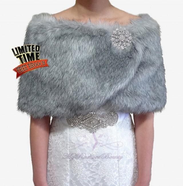 Bridal wrap bridal fur shrug bridal cape grey for Fur shrug for wedding dress