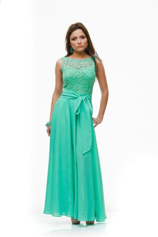 Wedding aqua mint maxi dress formal chiffon lace dress for Lace maxi wedding dress