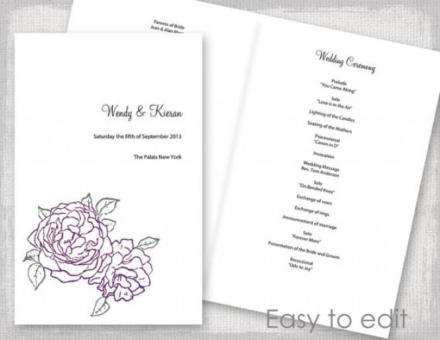 Wedding Program Template Amethyst Purple And Green Peony Rose Diy Printable Order Of Ceremony Booklet Plum You Edit Day 2385259