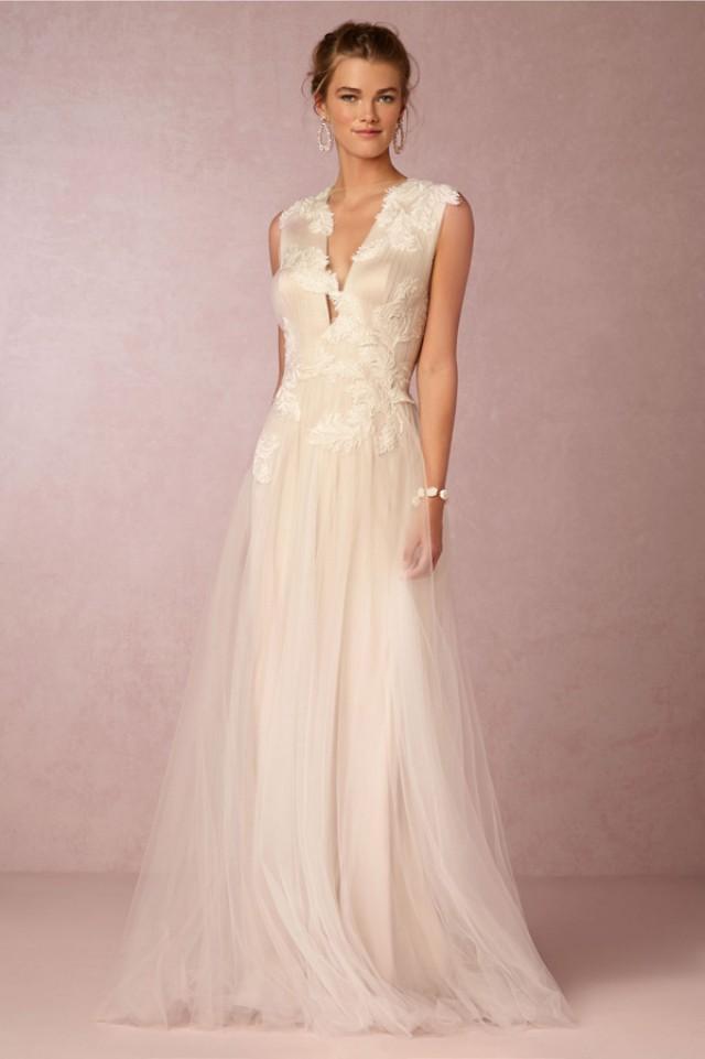 15 plunging neckline wedding dresses weddbook for Plunge neck wedding dress