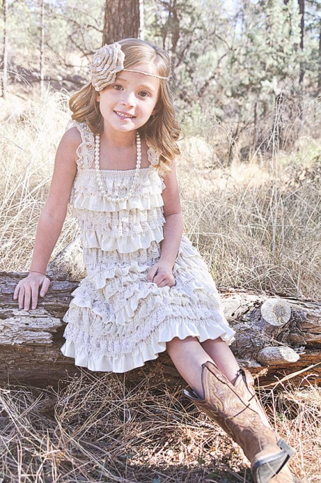 Rustic country flower girl dress lace pettidress for Country wedding flower girl dresses