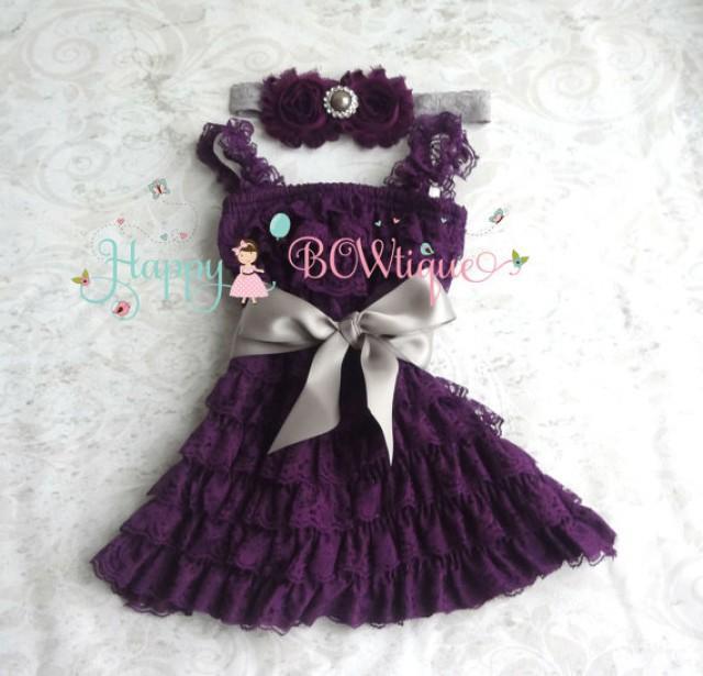 wedding photo - flower girl dress, Silver Plum Grey Lace Dress set baby girls' dress, Girls 1st Birthday dress, Flower Girls Dress, Ivory dress, Rustic