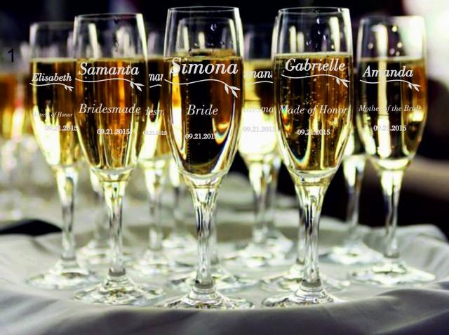 Engraved Wedding Party Gifts: 7 Personalized Bridesmaid Champagne Glasses, Bridesmaids
