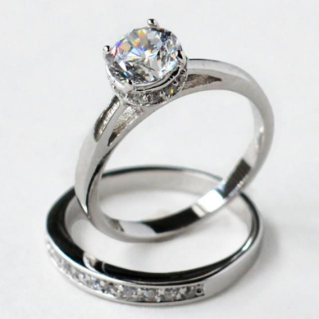 ring wedding ring set ring set cz wedding set sterling silver ring