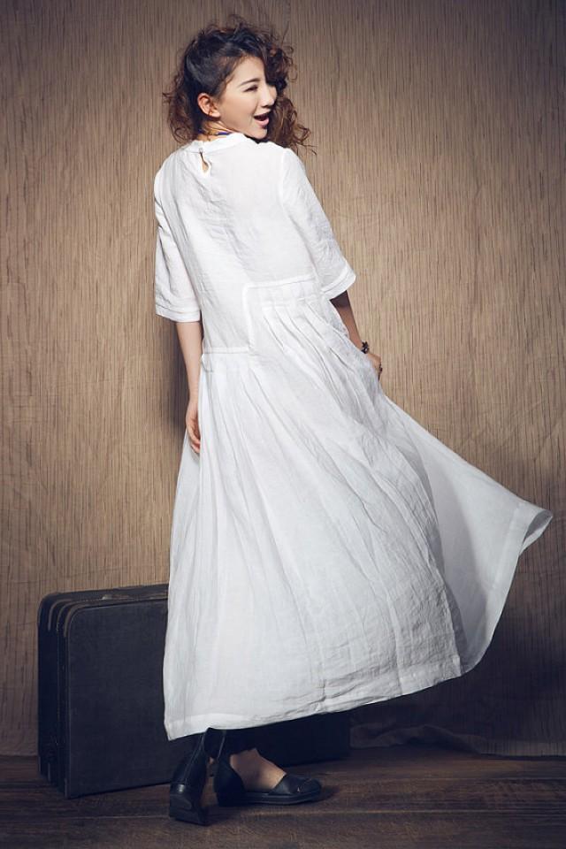 White dress wedding maxi linen dress in stock xxl xxxl for White kaftan wedding dress