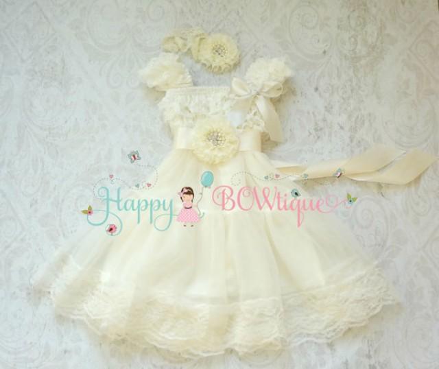 wedding photo - Flower girls dress- Ivory Chiffon Lace Dress set, Ivory Dress,baptism,rustic dress,Rustic flower girls lace dress,Girls Dress,Birthday dress