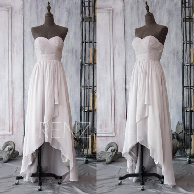 2015 Gray White High Low Bridesmaid Dress Chiffon White