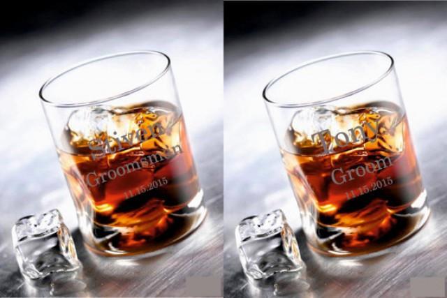wedding photo - 2 Personalized Whisky Glasses, Whisky Glasses, Groomsman Wedding Gifts, Custom Engraved Whisky Glasses, Groomsman party gift