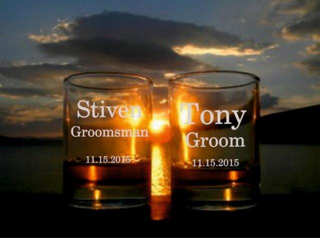 wedding photo - 3 Personalized Whisky Glasses, Whisky Glasses, Groomsman Wedding Gifts, Custom Engraved Whisky Glasses, Groomsman party gift