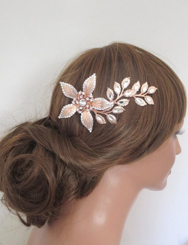 Rose Gold Hair Comb Rose Gold Headpiece Rose Gold Bridal Hair Clip Swarovski Crystal Hair