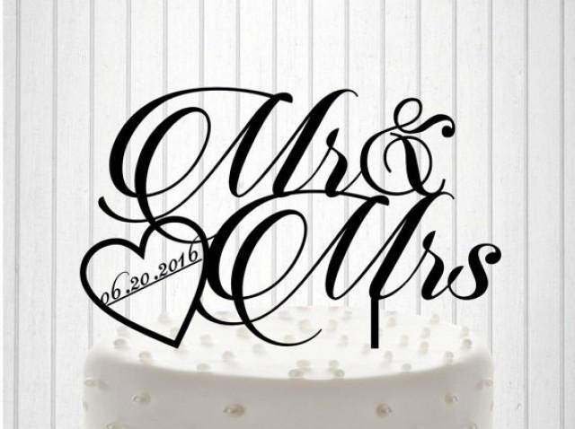 wedding photo - Mr & Mrs Wedding Cake Topper Cake Decor Custom Wedding Cake Topper with date Silhouette Bride and Groom Wedding Cake Topper
