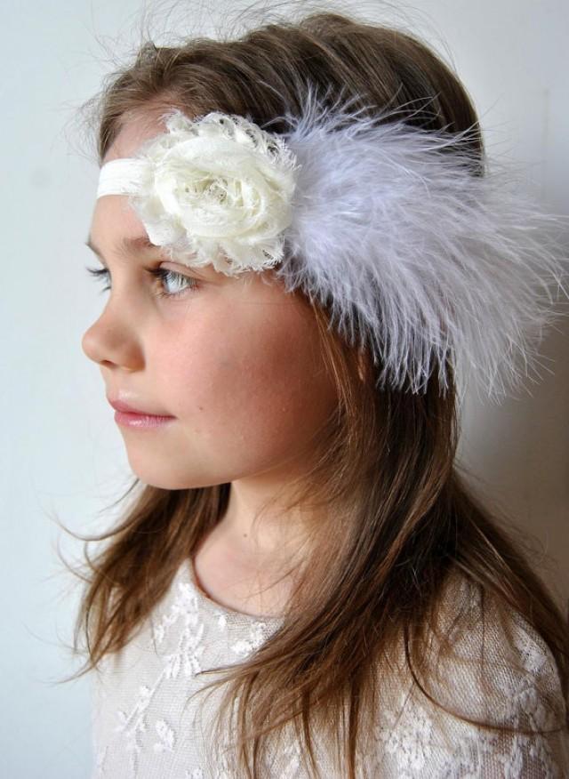 hair bows baby feather headbands headband ivory shabby chic feather headband flower headband