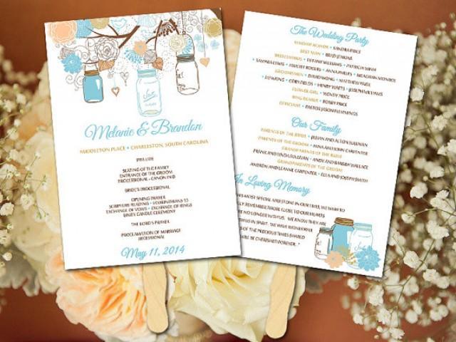 diy wedding fan program template mason jar wedding fan peach gold