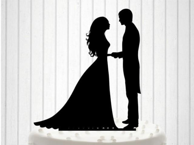 wedding photo - Custom Wedding Cake Topper Cake Decor Bride and Groom Cake Topper Silhouette Bride and Groom Wedding Cake Topper different colors