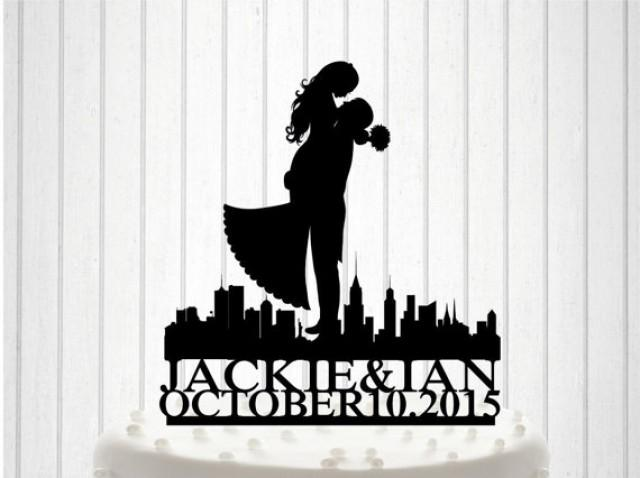 wedding photo - American, NY Wedding, Mr&Mrs Wedding Cake Topper, Bride and Groom Cake Decor, Custom Wedding Cake, Acrylic cake Topper, Couple names Topper