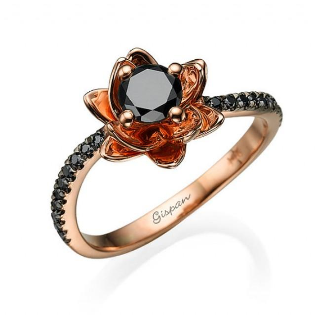 Flower Engagement Ring 14k Rose Gold With Black Diamonds Flower Ring Black
