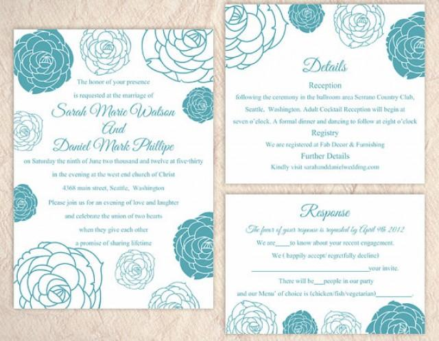 DIY Wedding Invitation Template Set Editable Word File Instant Download Printable Floral