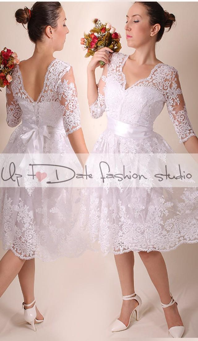 Lace short plus size v front nd back wedding party for Plus size dress for wedding reception