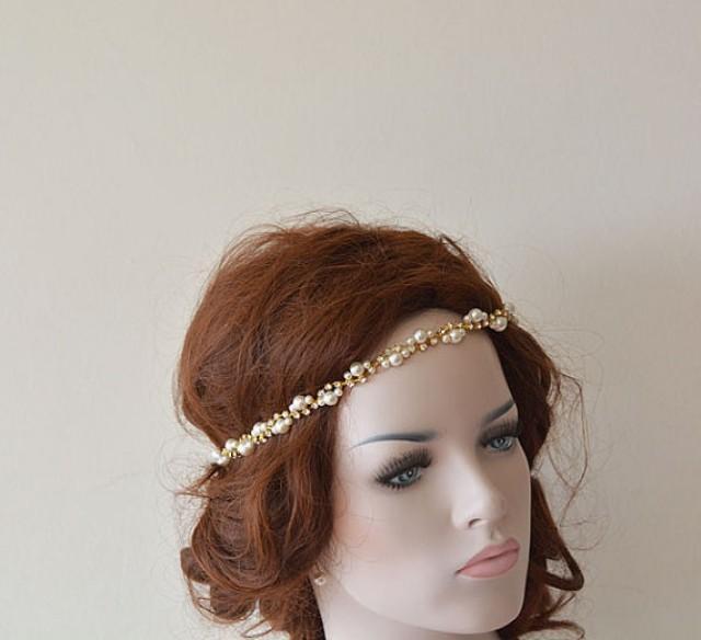 Wedding Hair With Rhinestone Headband : Bridal rhinestone and pearl headband wedding