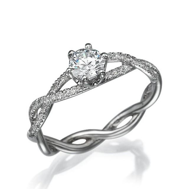 infinity engagement ring 14k white gold with diamonds