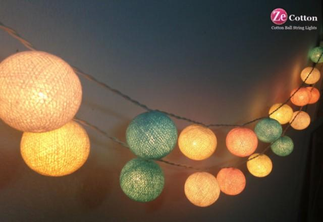 pastel night 35 mixed 4 pastel color cotton ball string lights fairy lights party decor. Black Bedroom Furniture Sets. Home Design Ideas